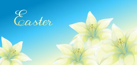 Greeting card with lilies. Иллюстрация