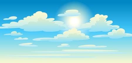 Illustratie van wolken in de lucht. Kaart of achtergrond met hemel en zonnige dag.