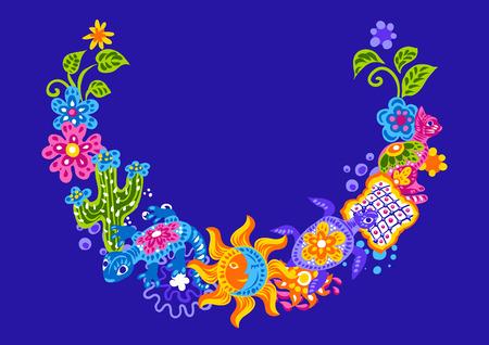 Decoración mexicana con lindos artículos de arte ingenuo. Objetos decorativos tradicionales. Cerámica ornamental de talavera. Adorno folclórico étnico.