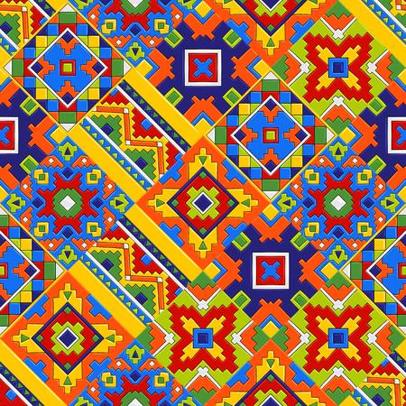 Modello messicano di piastrelle di ceramica talavera. Ornamento popolare etnico. Vettoriali