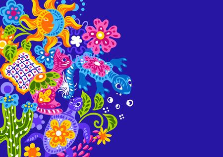 Mexikanischer Hintergrund mit süßen naiven Kunstgegenständen. Traditionelle Dekorationsgegenstände. Talavera dekorative Keramik. Ethnische Volksverzierung. Vektorgrafik