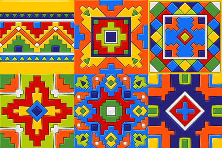 Patrón de baldosas de cerámica de talavera mexicana. Adorno folclórico étnico. Ilustración de vector