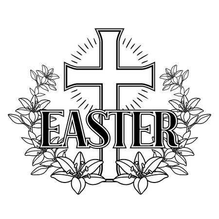 Happy Easter concept illustration. Cross and lilies. Greeting card. with religious symbol of faith. Illustration