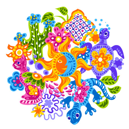 Mexican background with cute naive art items. Traditional decorative objects. Talavera ornamental ceramic. Ethnic folk ornament.