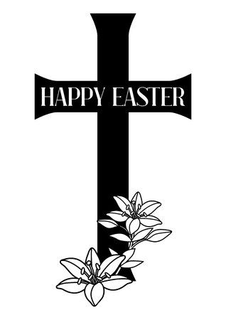 Happy Easter concept illustration. Cross and lilies. Greeting card. with religious symbol of faith. Ilustração