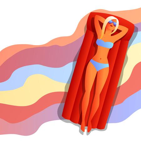Girl in bikini sunbath and relax. Beautiful tanned blond woman in sunglasses on beach.