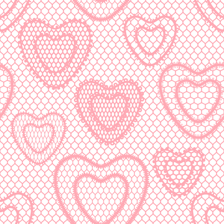 Seamless lace pattern with hearts. Vintage fashion textile.