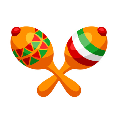 Illustration of two mexican decorated maracas. Traditional musical instrument.