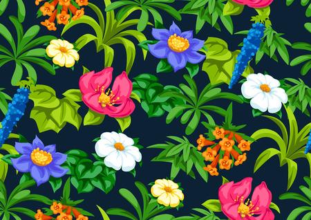 Patrones sin fisuras con flores tropicales. Plantas tropicales exóticas. Ilustración de la naturaleza selvática.