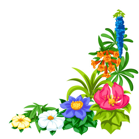 Decorative corner with tropical flowers. Exotic tropical plants. Illustration of jungle nature.