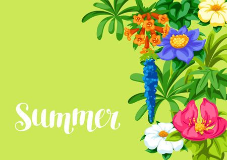 Background with tropical flowers. Exotic tropical plants. Illustration of jungle nature.