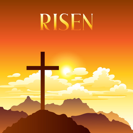 Risen. Easter illustration. Greeting card with cross and clouds. Religious symbol of faith.