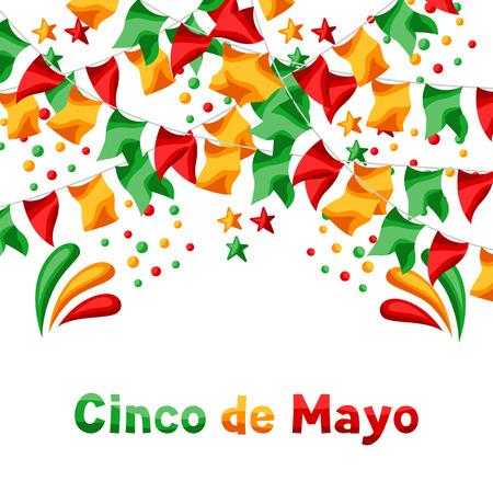 Tarjeta de felicitación mexicana del Cinco de Mayo. Fondo de fiesta nacional.