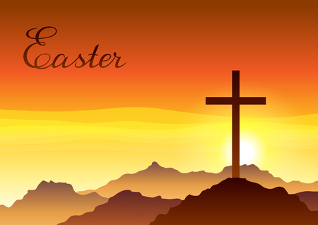 Easter illustration. Greeting card with cross and sky. Religious symbol of faith.
