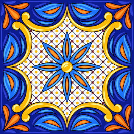 Mexican talavera ceramic tile pattern. Ethnic folk ornament. Italian pottery, portuguese azulejo or spanish majolica.