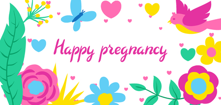 Happy pregnancy card. Baby shower invitation. Background with spring flowers. Beautiful decorative natural plants, buds and leaves.