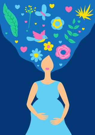 Happy pregnancy. Pretty pregnant woman. Baby shower invitation. Child waiting illustration.