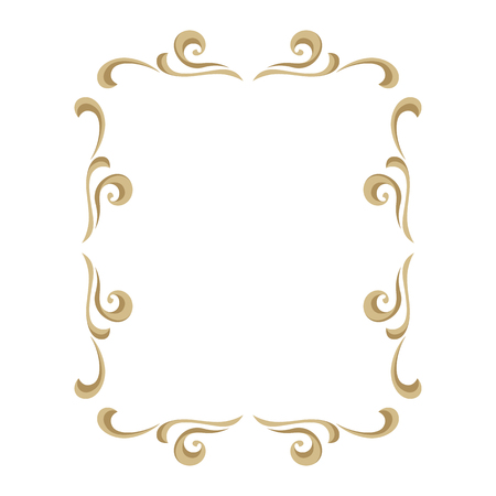 Frame with ornamental floral gold elements. Caltgraphic curls.