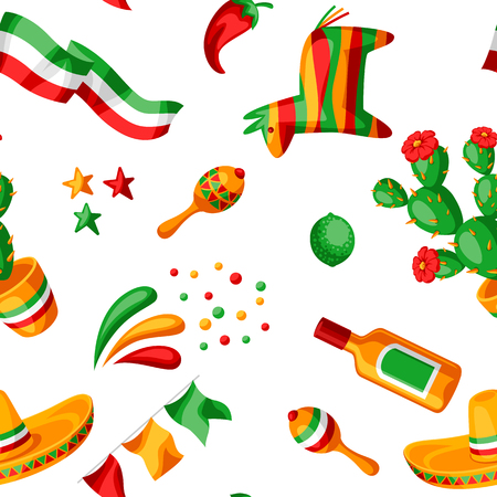 Mexican Cinco de Mayo seamless pattern. National holiday items.