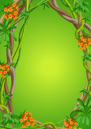 Twisted wild lianas branches frame. Jungle vines plants. Woody natural tropical rainforest.