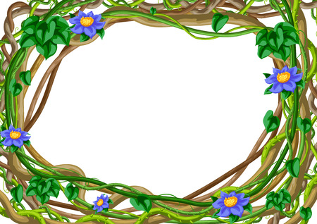 Twisted wild lianas branches frame. Jungle vines plants. Woody natural tropical rainforest. Ilustrace