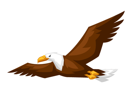 Bald eagle cartoon illustration. Bird flies on white background.
