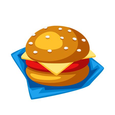 Illustration of stylized hamburger or cheeseburger. Isolated on white background.