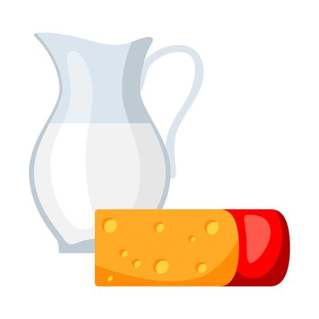 Icon of dairy products, milk and cheese. Illustration solated on white background.  イラスト・ベクター素材