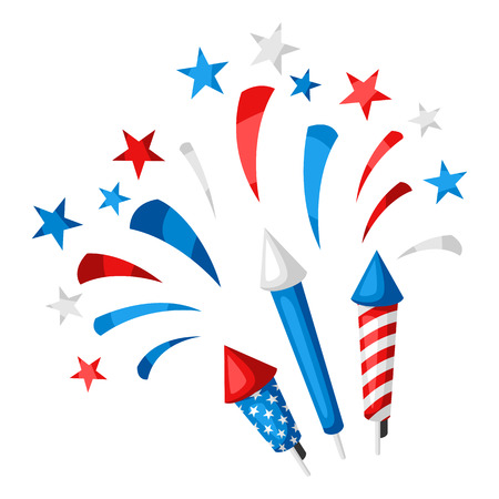 Background with bright colorful fireworks and salute. In colors of American Flag.