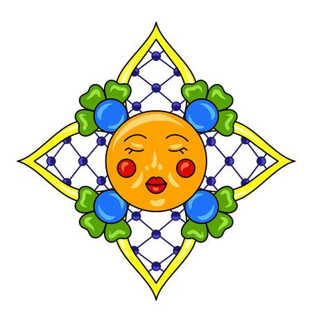 Mexican star with ornamental flowers. Traditional decorative object. Talavera ceramic pattern. Ethnic folk ornament.