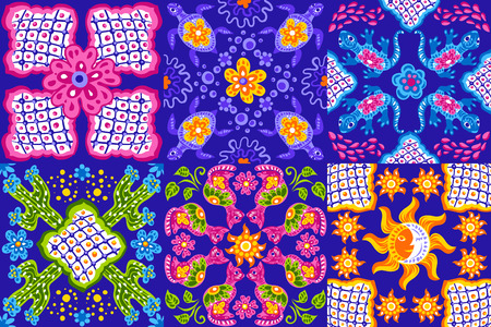 Mexican talavera ceramic tile pattern. Cute naive art items. Ethnic folk ornament. Иллюстрация
