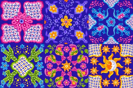 Mexican talavera ceramic tile pattern. Cute naive art items. Ethnic folk ornament. Illustration