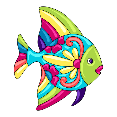 Decorative ornamental fish. Mexican ceramic cute naive art. Ethnic decorative objects. Traditional folk floral ornament.