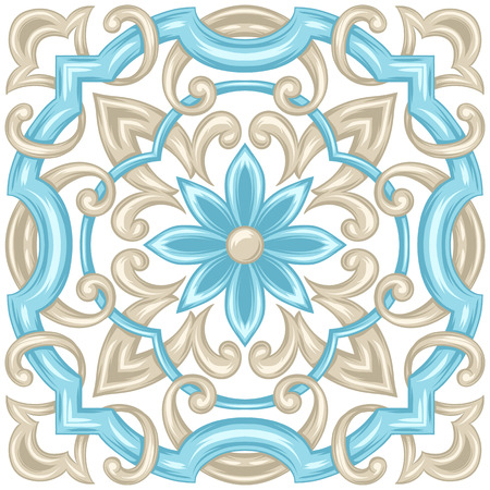Portuguese azulejo ceramic tile pattern. Ethnic folk ornament. Mediterranean traditional ornament. Italian pottery, mexican talavera or spanish majolica. Vector Illustratie