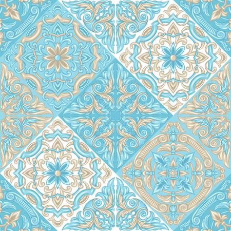 Portugiesisches Azulejo-Keramikfliesenmuster. Ethnische Volksverzierung. Traditionelle mediterrane Ornamente. Italienische Keramik, mexikanische Talavera oder spanische Majolika.