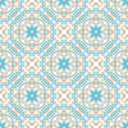 Portugiesisches Azulejo-Keramikfliesenmuster. Ethnische Volksverzierung. Traditionelle mediterrane Ornamente. Italienische Keramik, mexikanische Talavera oder spanische Majolika. Vektorgrafik
