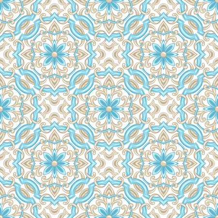Portuguese azulejo ceramic tile pattern. Ethnic folk ornament. Mediterranean traditional ornament. Italian pottery, mexican talavera or spanish majolica. Stock Vector - 121748511