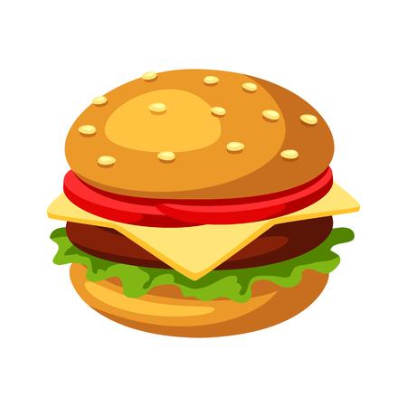 Illustration of stylized hamburger or cheeseburger. Fast food meal. Isolated on white background. Ilustração