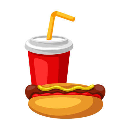 Illustration with fast food meal. Soda and hot dog. Tasty fastfood lunch products. Standard-Bild - 121748527