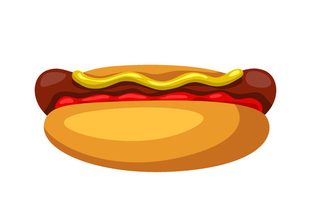 Illustration of stylized hot dog. Fast food meal. Isolated on white background. Standard-Bild - 121679625