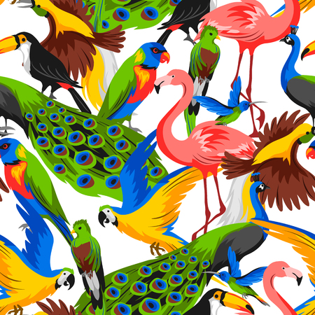 Seamless pattern with tropical exotic birds. Wild fauna of jungle and rainforest. Illustration