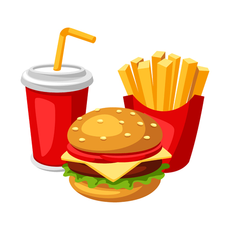 Illustration with fast food meal. Soda, fries and burger. Tasty fastfood lunch products. Illustration