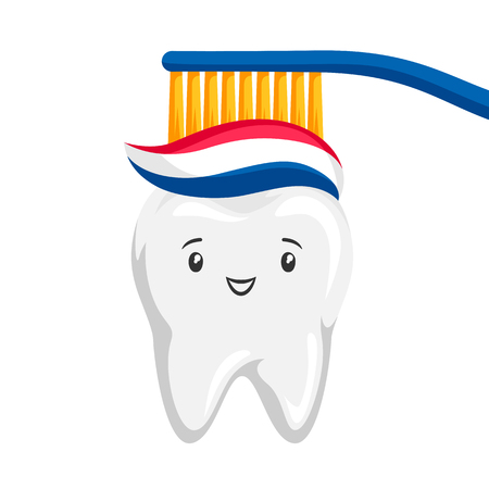 Illustration of smiling tooth brushing paste. Children dentistry happy character. Banco de Imagens - 121679656