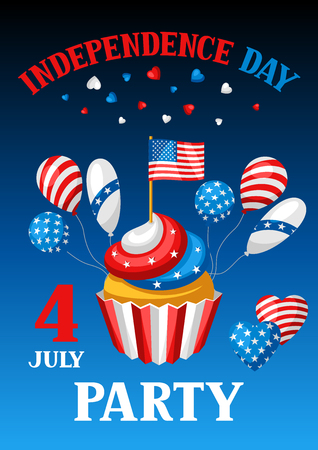 Fourth of July Independence Day party banner. American patriotic illustration.