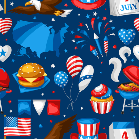 Fourth of July Independence Day pattern. American patriotic illustration.