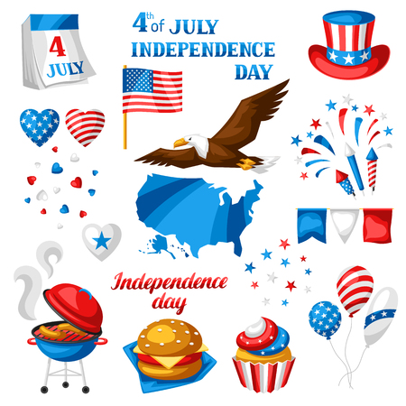 Fourth of July Independence Day symbols set. American patriotic illustration. Illustration