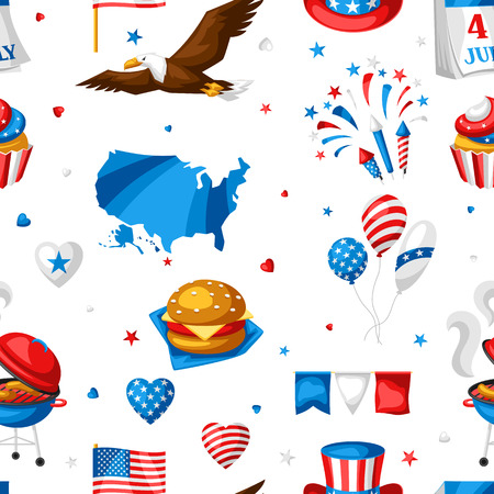 Fourth of July Independence Day seamless pattern. American patriotic illustration.
