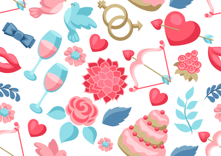 Wedding seamless pattern. Marriage background with romantic items.
