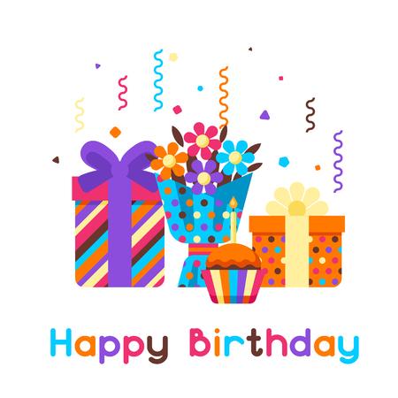 Happy Birthday greeting card. Celebration or holiday items.