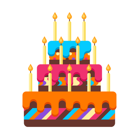 Happy Birthday cake with candles. Festive icon or illustration.